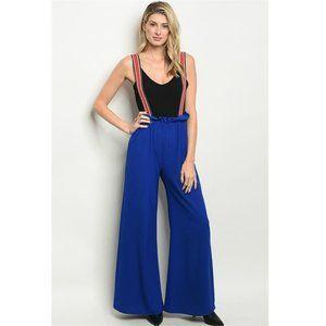 """""""The Royale"""" Blue Wide Leg Suspender Pants Size L"""